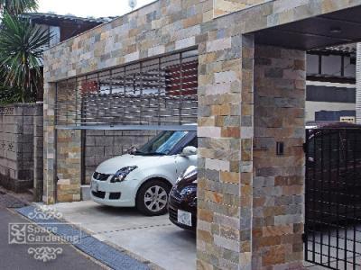 車庫 シャッター 石貼り 天然石