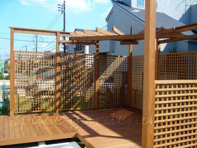 ウッドデッキ 木製パーゴラ テラス屋根 ウリン材