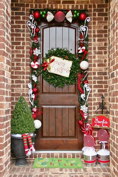 クリスマス アレンジ 飾り アプローチ 玄関まわり リース