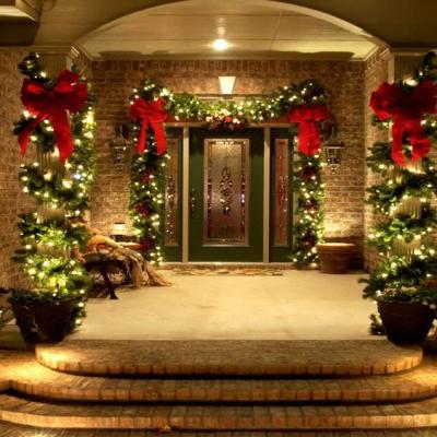 クリスマス アレンジ 飾り アプローチ 玄関まわり リボン