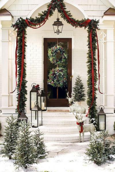 クリスマス アレンジ 飾り アプローチ 玄関まわり リース 松ぼっくり ベルベットリボン