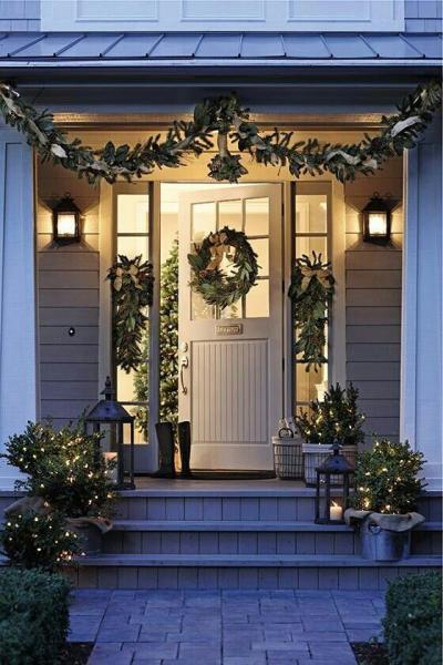 クリスマス アレンジ 飾り アプローチ 玄関まわり リース シック 大人