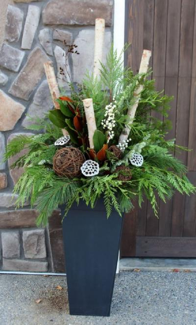 クリスマス アレンジ 飾り アプローチ 玄関まわり 蓮