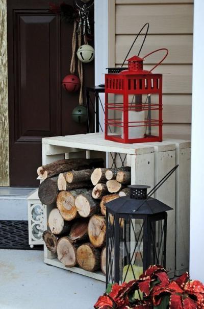 クリスマス アレンジ 飾り アプローチ 玄関まわり ランタン 薪