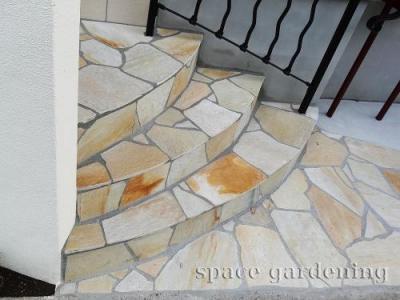 アプローチ 石貼り 自然石 階段 パラストーン 乱形