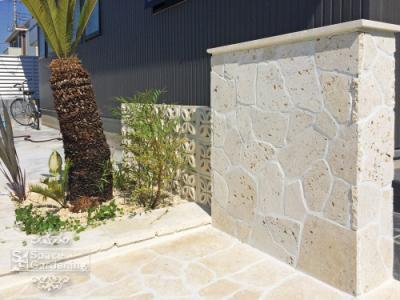 アプローチ 飾り壁 石貼り 乱形 琉球石灰岩