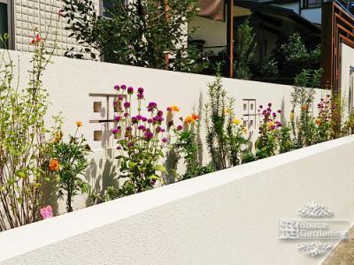 花壇 空洞ブロック デザイン 外構