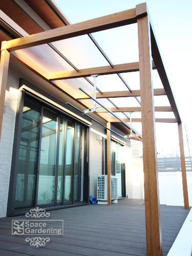 テラス屋根 木調 タカショー シンプルテラス